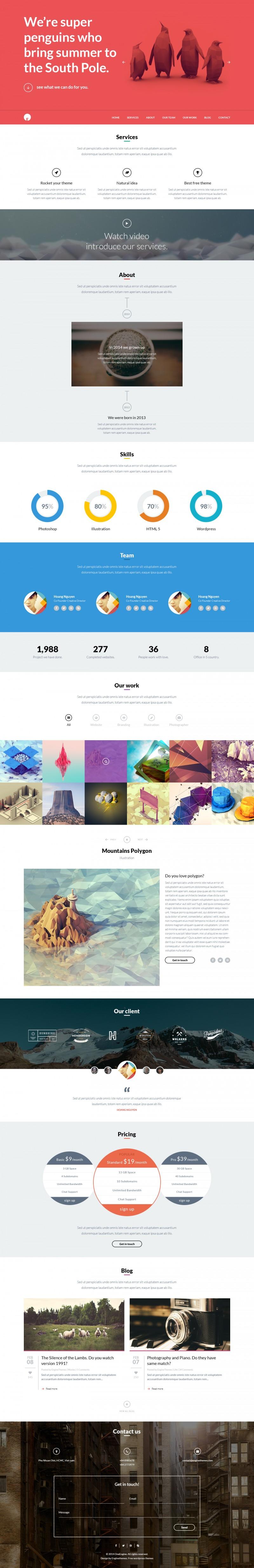 Free One Page WordPress Theme - OneEngine