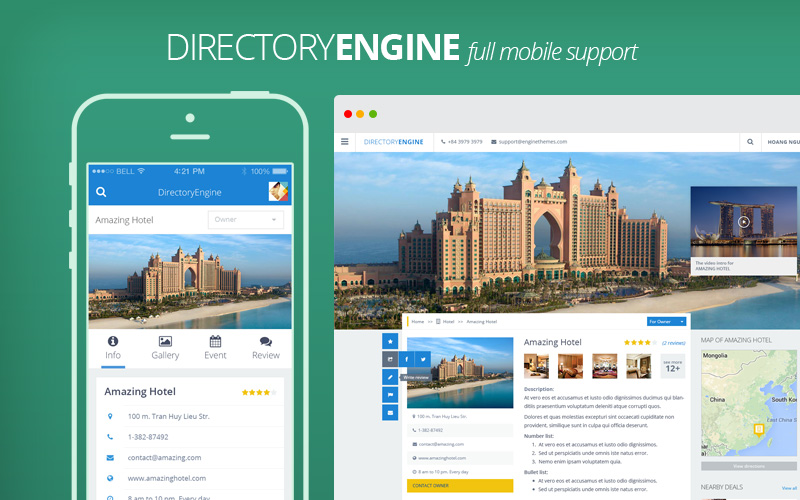 DirectoryEngin - Responsive Directory Worpress Theme Mobile