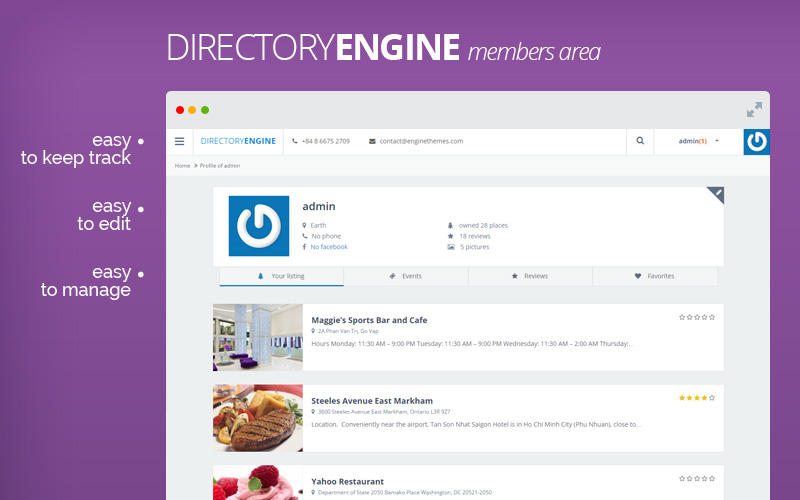 DirectoryEngine - Easy Customize Directory WordPress Theme
