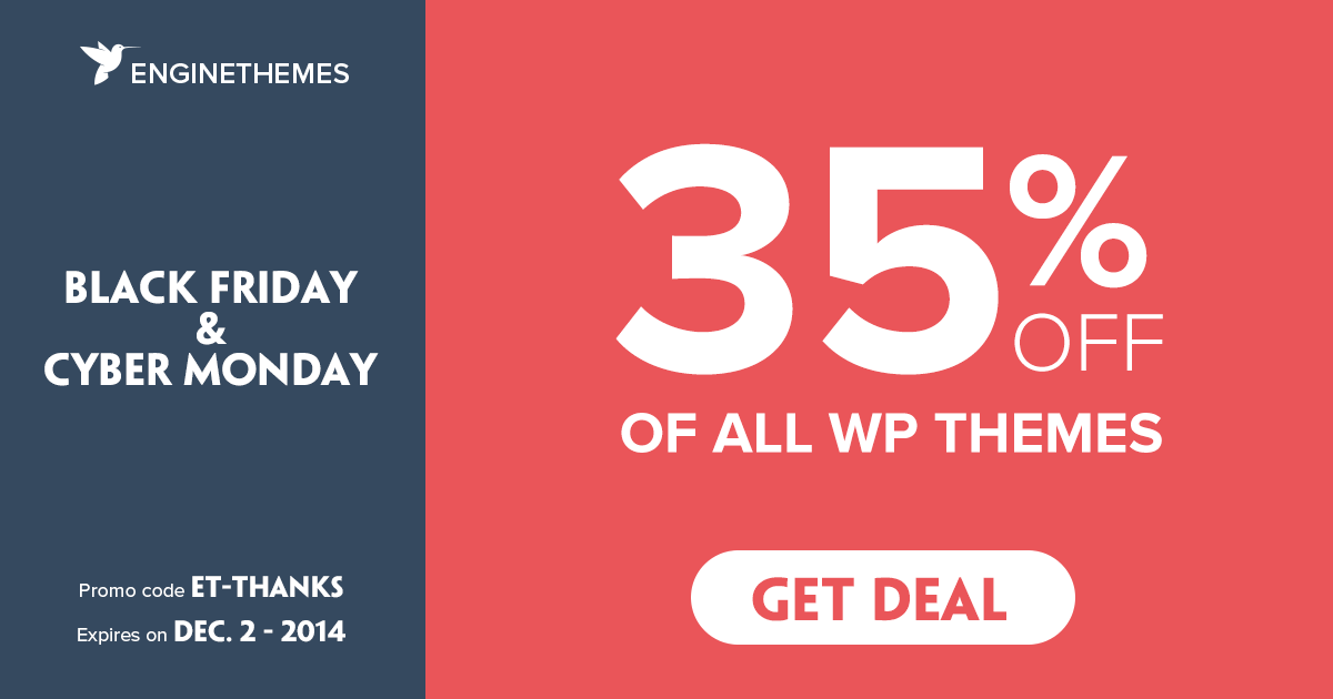 Get 35% off of all products - EngineThemes - WordPress app themes, software themes
