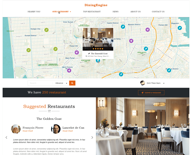 restaurant directory wordpress theme diningengine