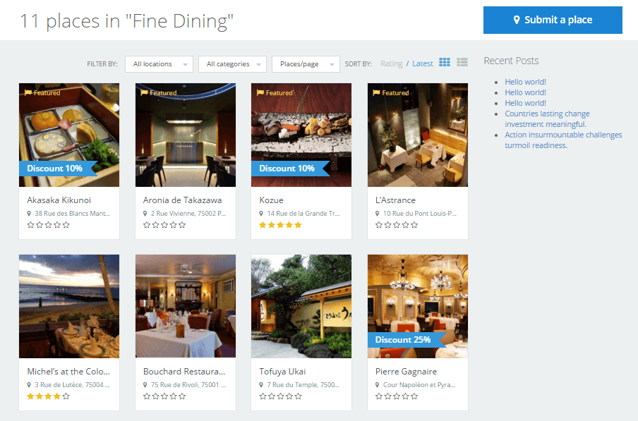 directoryengine update 1.9.5 featured places