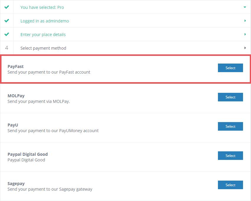 AE PayFast in DirectoryEngine