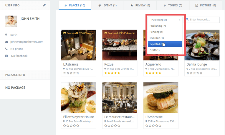 directoryengine update 2.0.1 place status dropdown menu