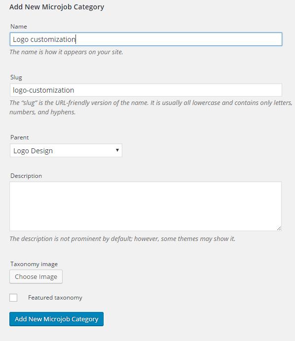Setup MicrojobEngine - categories