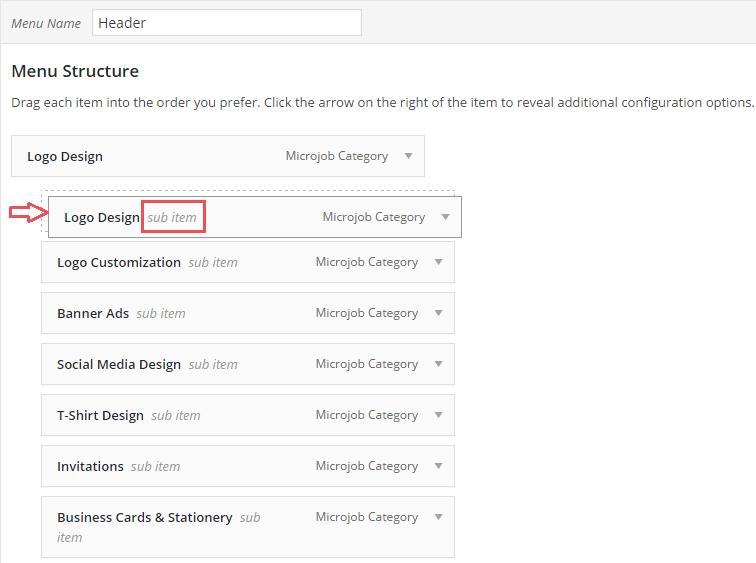 Setup MicrojobEngine - header menu