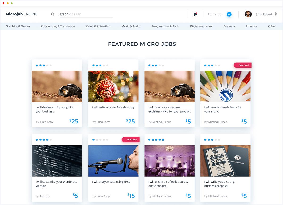 micro job wordpress theme - microjobengine