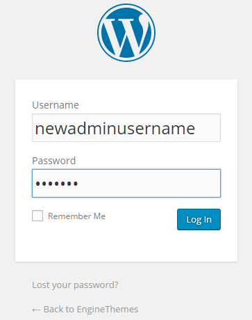 WordPress admin username
