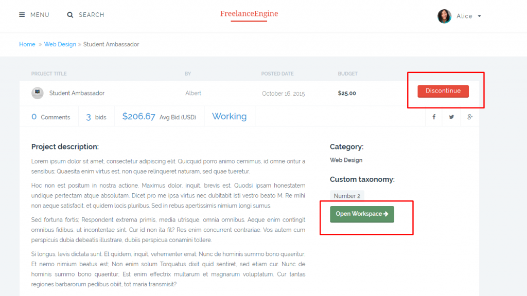 freelanceengine 1.7.5 - open workspace & discontinue button