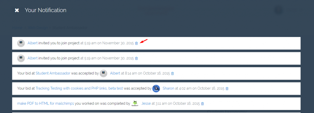 freelanceengine 1.7.5 - delete notification